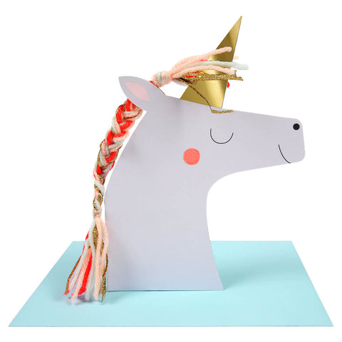 Unicorn With Braided Mane Greetings Card by Meri Meri - Junior Edition