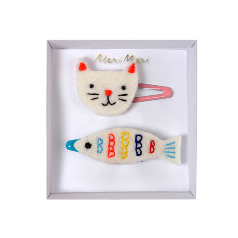 Embroidered Cat And Fish Hair Clips by Meri Meri - Junior Edition
