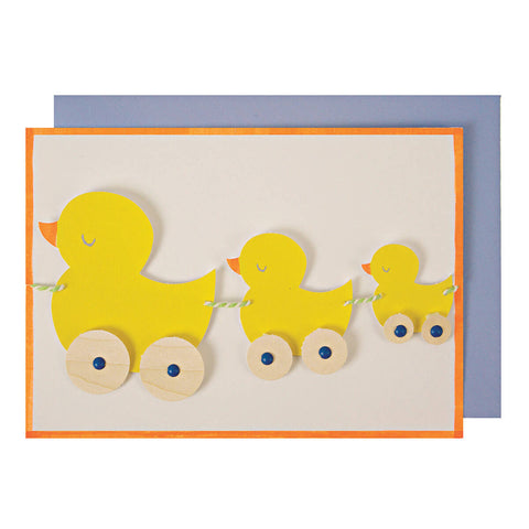 Pull Along Duck Train Greetings Card by Meri Meri - Junior Edition