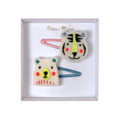 Embroidered Bear And Tiger Hair Clips by Meri Meri