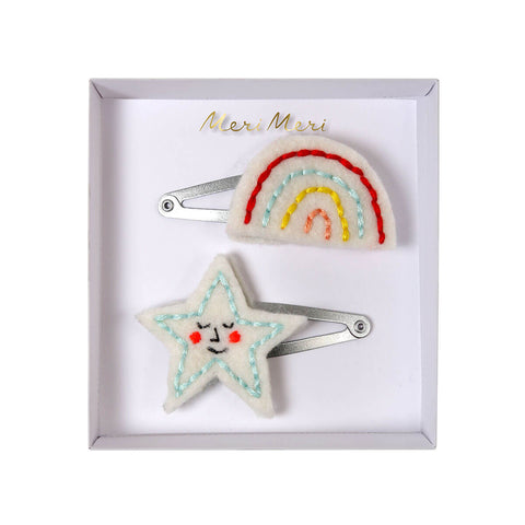 Embroidered Rainbow And Star Hair Clips by Meri Meri - Junior Edition