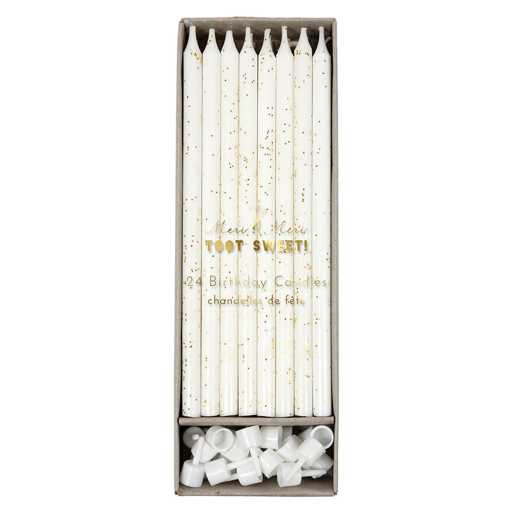 Tall Birthday Candles in Gold Glitter by Meri Meri - Junior Edition