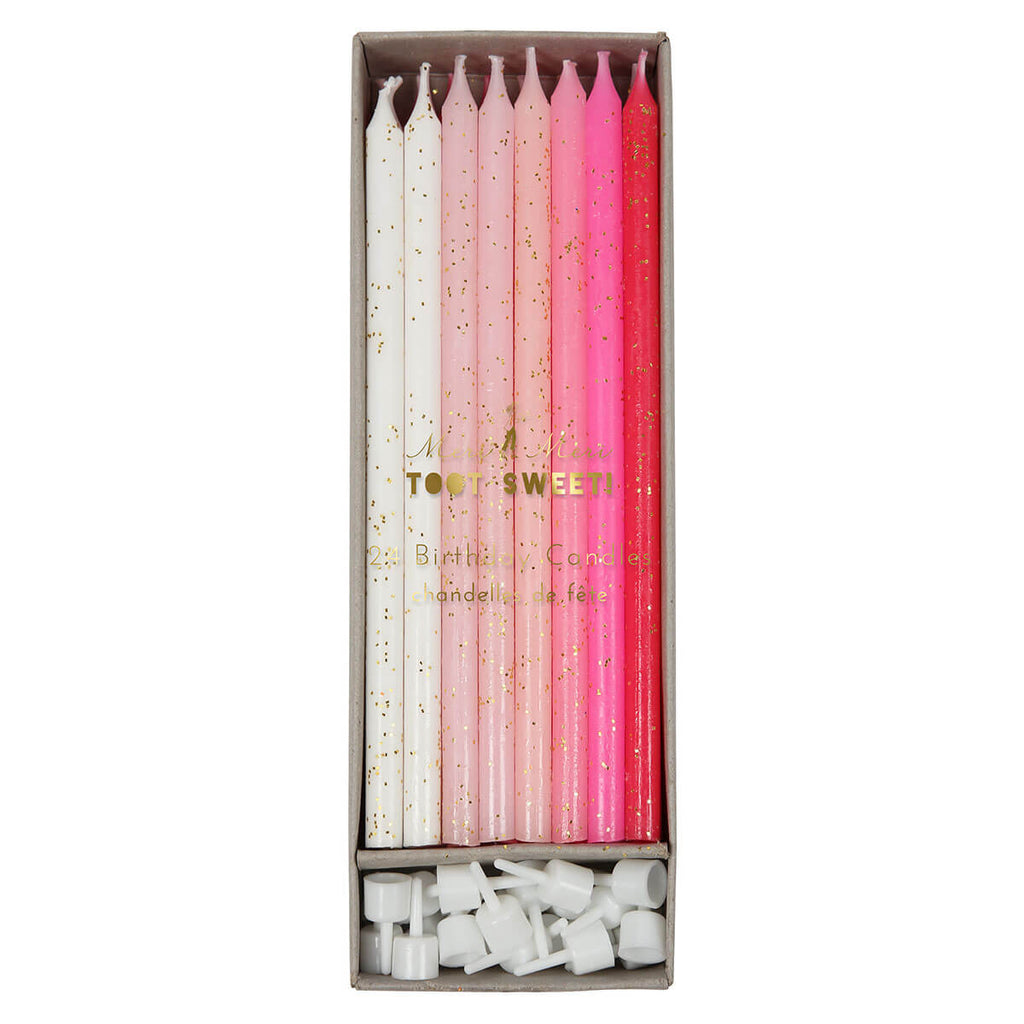 Tall Birthday Candles in Pinks by Meri Meri - Junior Edition