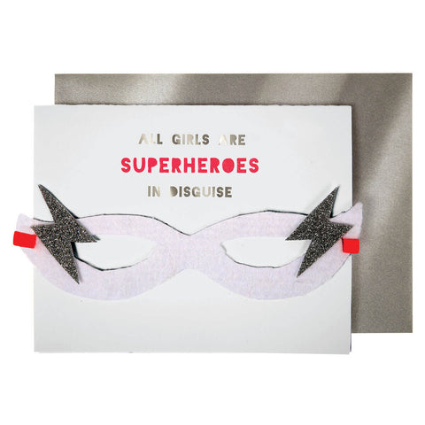 Girl Superhero Greetings Card by Meri Meri - Junior Edition