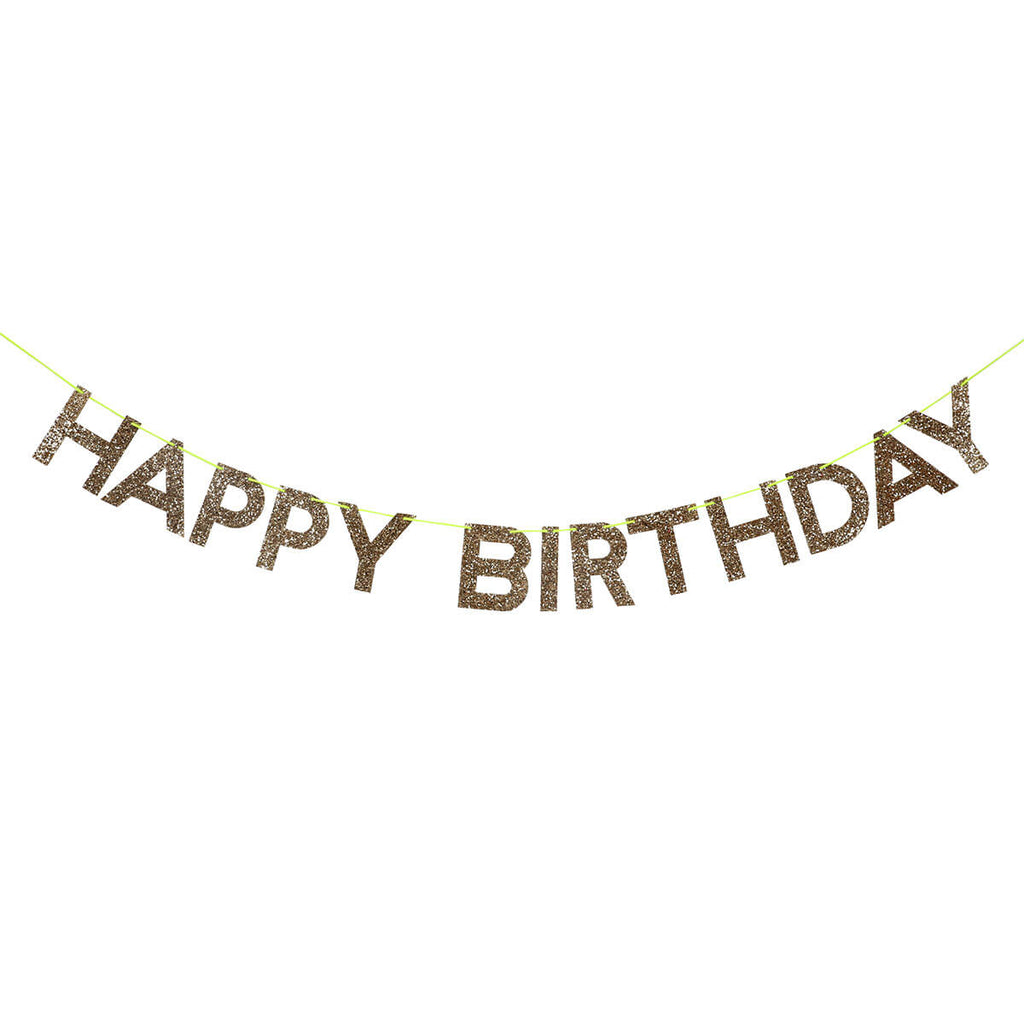 Gold Happy Birthday Garland by Meri Meri - Junior Edition