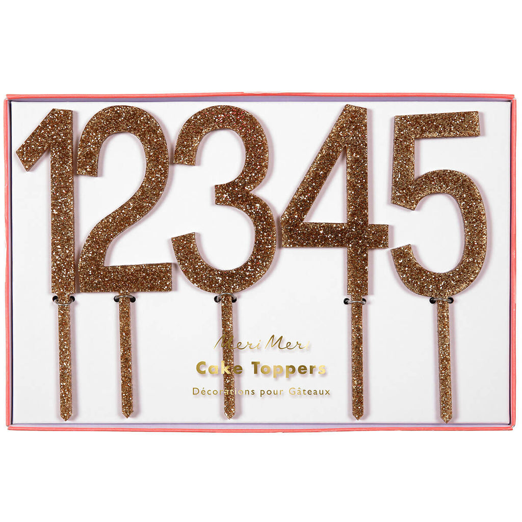 Gold Numbers Cake Toppers by Meri Meri - Junior Edition
