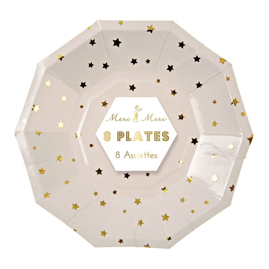 Gold Stars Hexagonal Party Plates by Meri Meri - Junior Edition