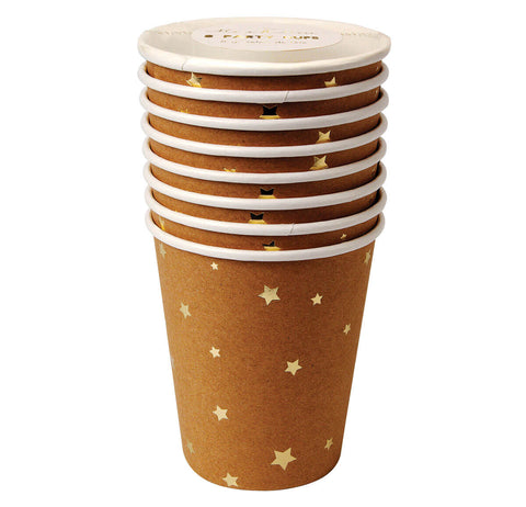 Gold Stars Kraft Party Cups by Meri Meri - Junior Edition