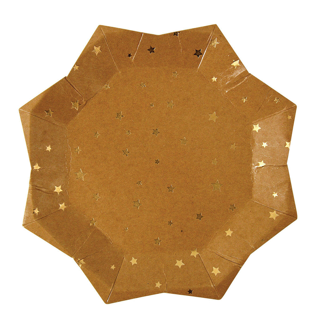 Gold Stars Kraft Party Plates Large by Meri Meri - Junior Edition