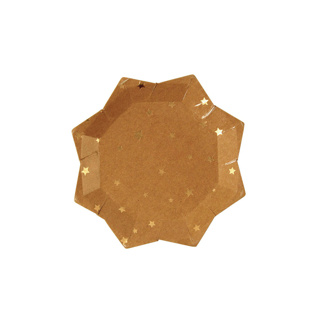 Gold Stars Kraft Party Canapé Plates by Meri Meri - Junior Edition