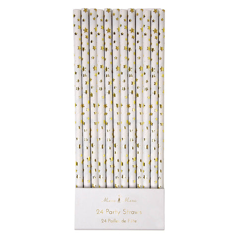 Gold Star Paper Straws by Meri Meri - Junior Edition