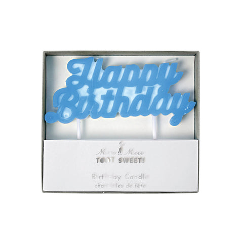 Happy Birthday Candle in Blue by Meri Meri