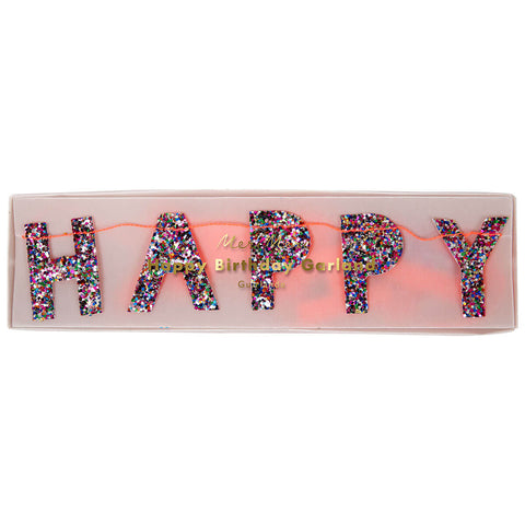 Glitter Happy Birthday Mini Garland by Meri Meri