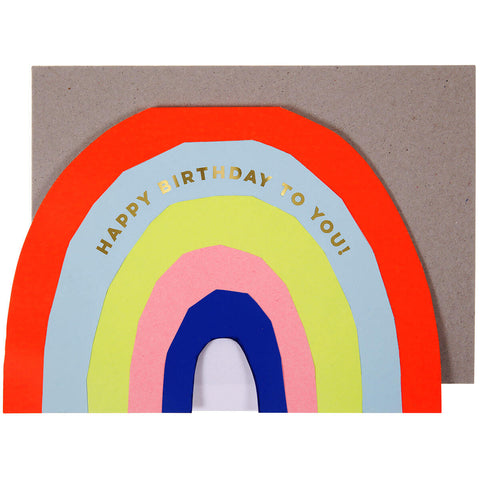 Neon Rainbow Birthday Greetings Card by Meri Meri - Junior Edition