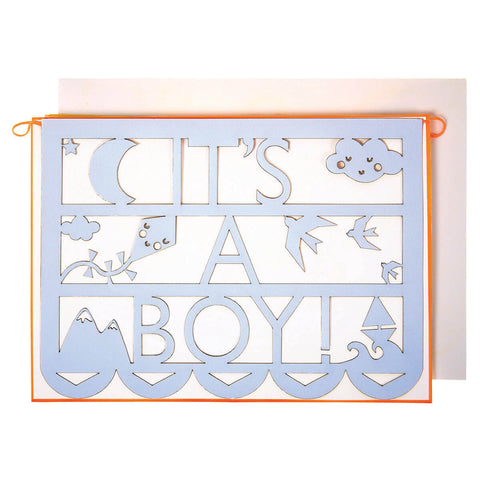 It's A Boy Cut Out Garland Card by Meri Meri - Junior Edition