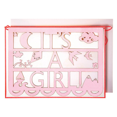 It's A Girl Cut Out Garland Card by Meri Meri - Junior Edition