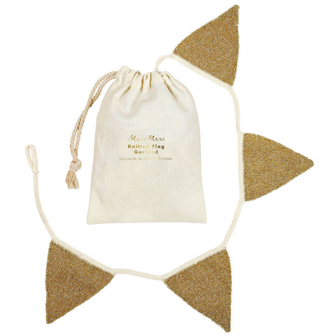 Gold Knitted Bunting by Meri Meri - Junior Edition