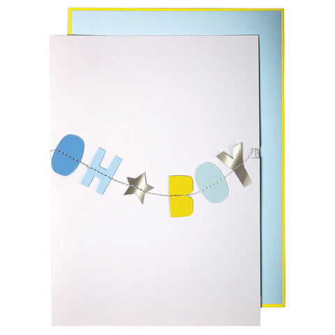 Oh Boy Garland New Baby Card by Meri Meri - Junior Edition