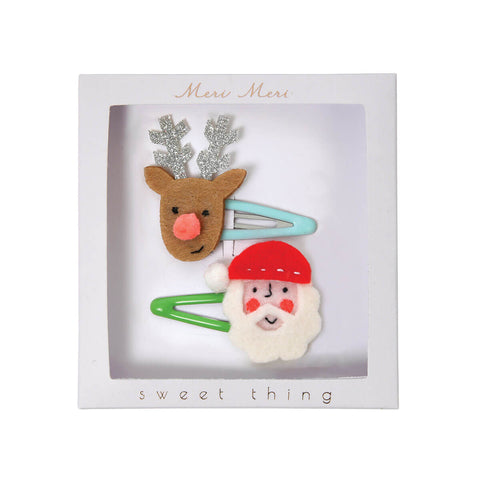Santa and Reindeer Hair Clips by Meri Meri