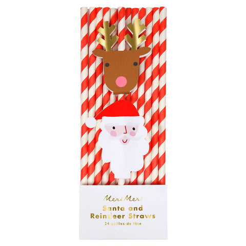 Santa and Reindeer Striped Paper Straws in Red by Meri Meri