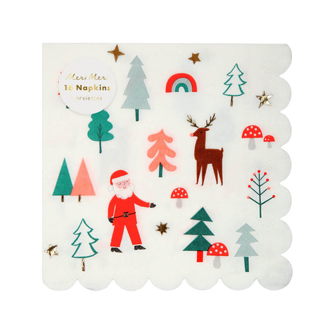 Santa Scene Party Napkins by Meri Meri - Junior Edition