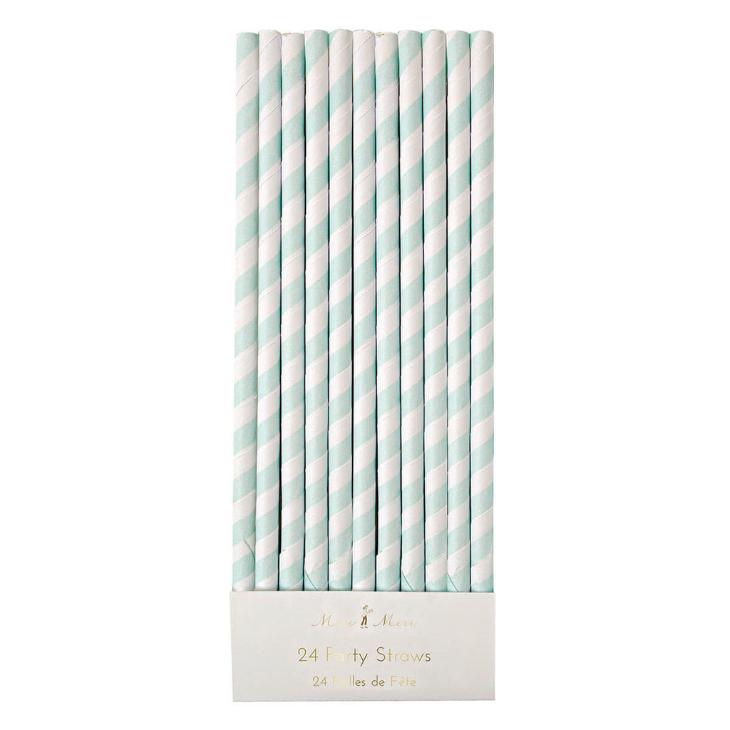 Striped Paper Straws in Mint by Meri Meri - Junior Edition