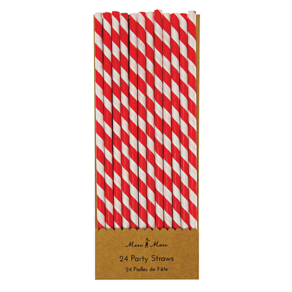 Striped Paper Straws in Red by Meri Meri - Junior Edition