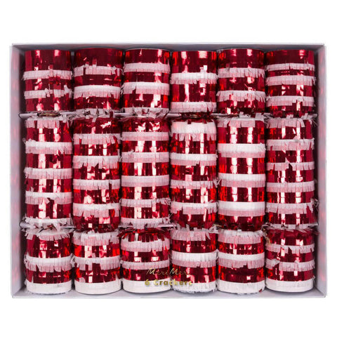 Candy Cane Fringed Large Crackers by Meri Meri - Junior Edition