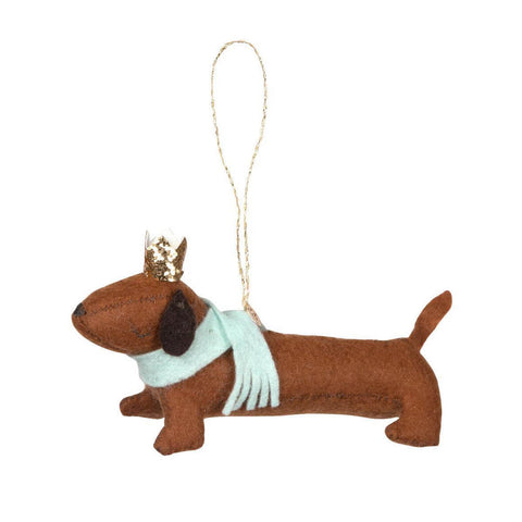 Felt Sausage Dog Christmas Tree Decoration by Meri Meri