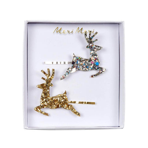 Glitter Reindeer Hair Pins by Meri Meri