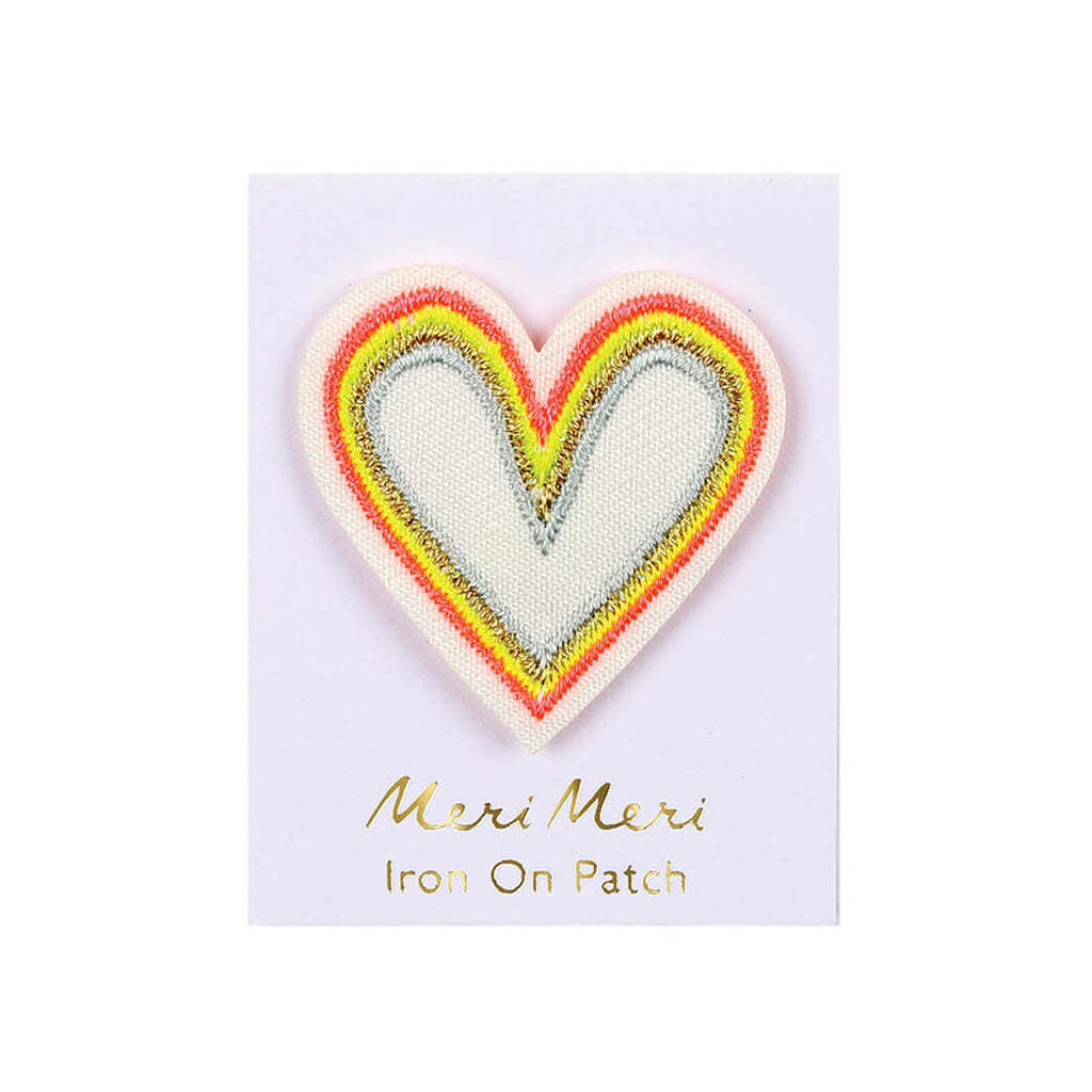 Rainbow Heart Iron On Patch by Meri Meri - Junior Edition