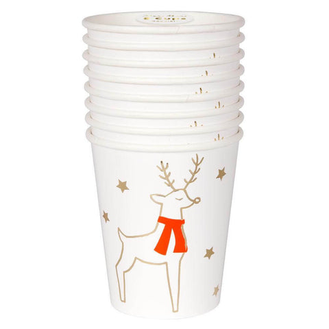 Reindeer And Star Christmas Party Cups by Meri Meri