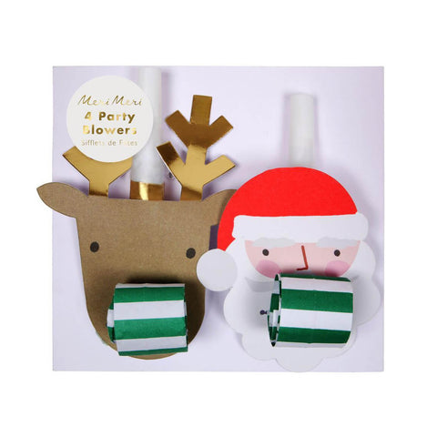 Santa And Reindeer Christmas Party Blowers by Meri Meri