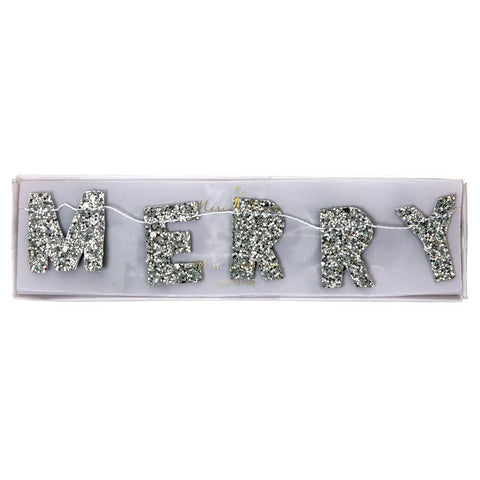 Silver Glitter Merry Christmas Mini Garland by Meri Meri