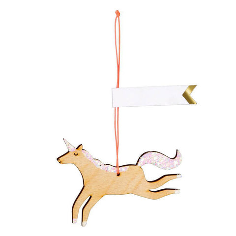 Wooden Glitter Unicorn Gift Tags by Meri Meri