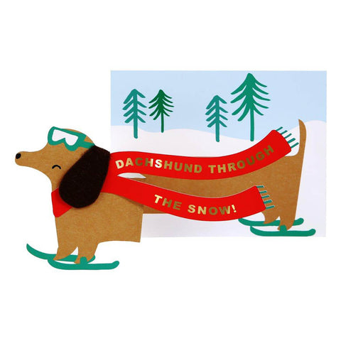 Dachshund Through The Snow Concertina Christmas Card by Meri Meri