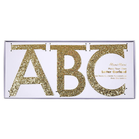 Gold Glitter DIY Letter Garland Kit by Meri Meri - Junior Edition