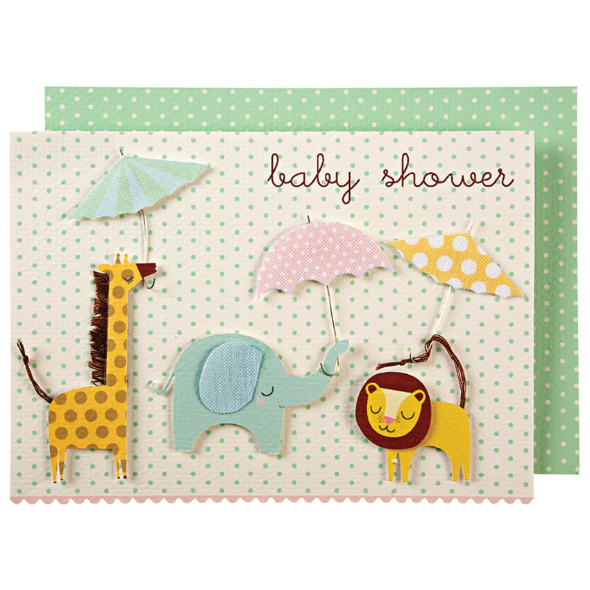 Animals With Umbrellas Baby Shower Greetings Card by Meri Meri - Junior Edition