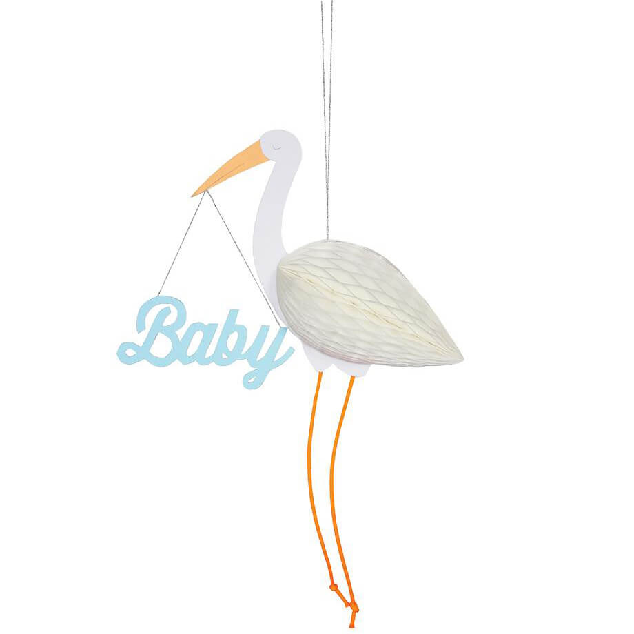 Blue Baby Stork Honeycomb Greetings Card by Meri Meri - Junior Edition
