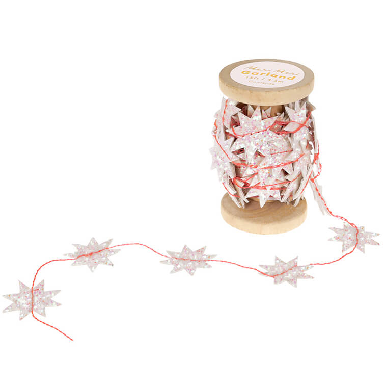 Iridescent Glitter Star Stitched Garland by Meri Meri - Junior Edition