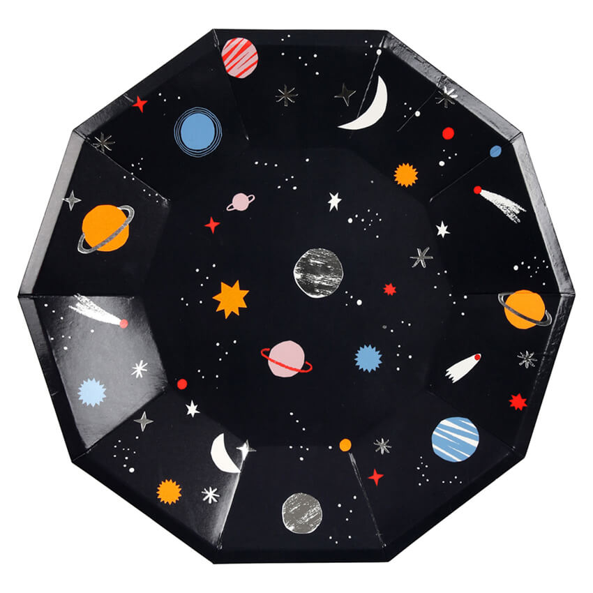 Large Space Party Plates by Meri Meri - Junior Edition