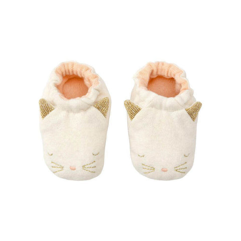 Cat Baby Booties in Peach by Meri Meri