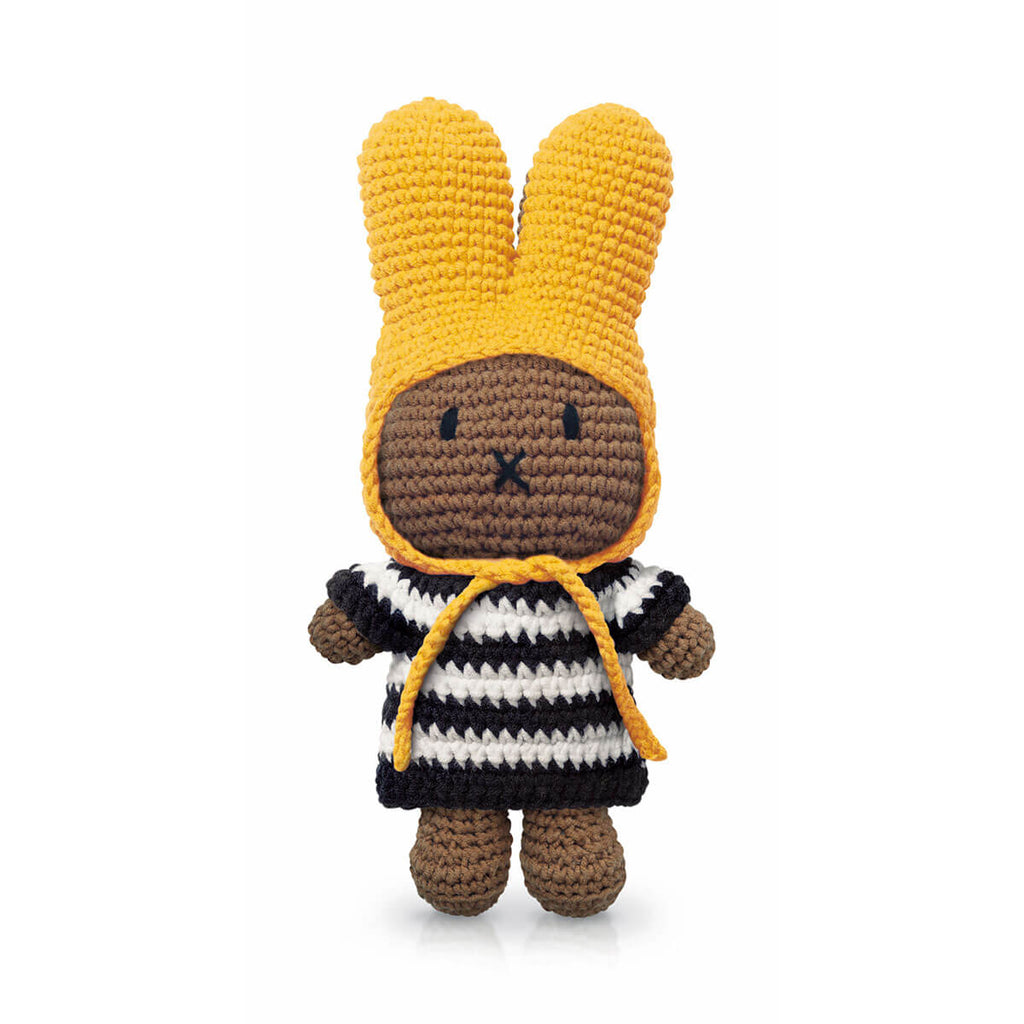 Melanie In Her Black Stripe Dress And Yellow Hat by Miffy Handmade - Junior Edition