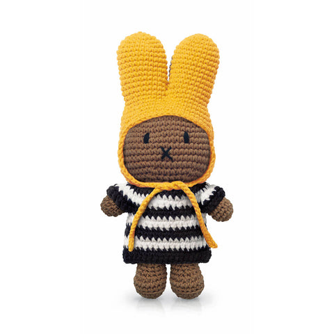 Melanie In Her Black Stripe Dress And Yellow Hat by Miffy Handmade
