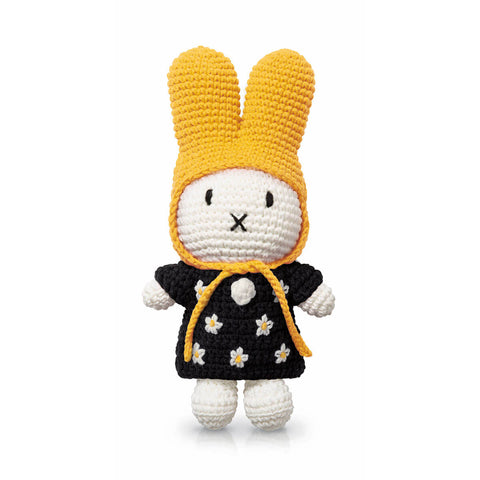 Miffy In Her Black Flower Dress And Yellow Hat by Miffy Handmade