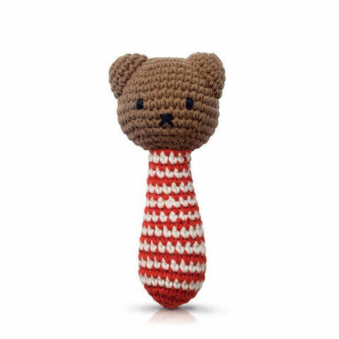 Boris Rattle In Red Stripes by Miffy Handmade
