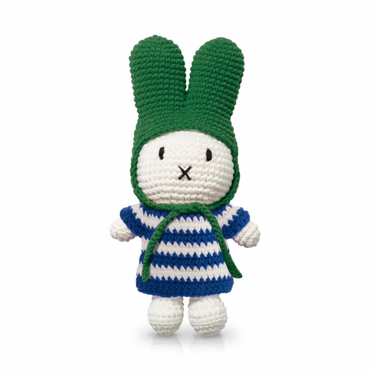 Miffy In Her Blue Stripe Dress And Green Hat by Miffy Handmade - Junior Edition