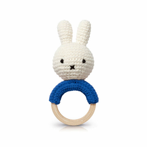 Miffy Teething Ring Rattle In Blue by Miffy Handmade - Junior Edition