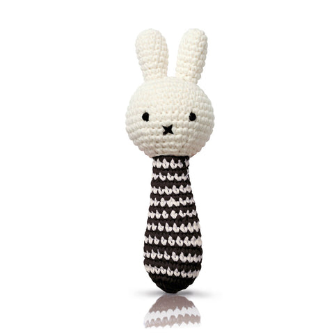 Miffy Rattle In Black Stripes by Miffy Handmade - Junior Edition