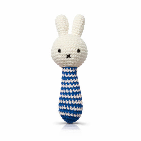 Miffy Rattle In Blue Stripes by Miffy Handmade - Junior Edition